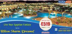Enjoy a wondrous stay at the Hilton Sharm Dreams and realize your Egyptian fantasy. 7 nights stay available from £519. Hurry call now! http://www.southalltravel.co.uk/holidays/egypt/sharmelsheikh/hiltonsharm.aspx