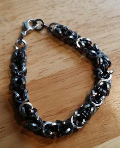 Byzantine Bracelet Square Wire Ice and Black