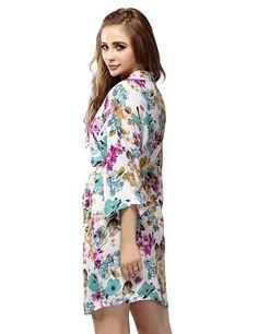 Skyfitting Women's Cotton Kimono Robe, Floral Bridesmaid Robes, Short Bathrobe at Amazon Women's Clothing store: