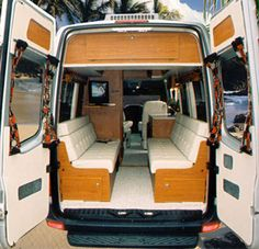 Sportsmobile offers 50 camper van plans or will customize to meet your camping/travel needs, since Two and four wheel drives, gas and diesel vans. Second home/second car. Ford Transit Campervan, Campervan Bed, Campervan Interior, Van Conversion Layout, Van Conversion Interior, Camper Van Conversion Diy, Custom Camper Vans, Custom Campers, Vw Lt 28