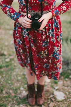 Red floral dress and boots.