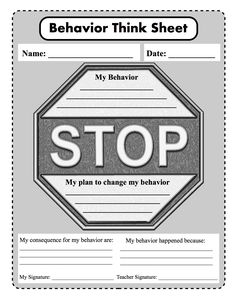 STOP think and choose: behavior, consequence, plan to change from #myPBIS