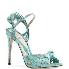 """c8e0d370b79 Gucci Allie Knot Floral Stiletto 4""""+ Sandals Stilettos"""