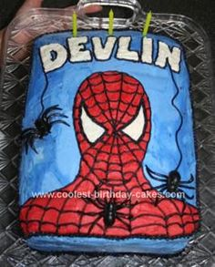 Homemade Spiderman Cake: I saw a similar Spiderman cake on this site and just incorporated a few of my own ideas. I printed a coloring book page of Spiderman's face for reference