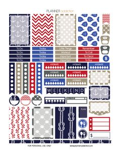 Free Weekly Printable Planner Stickers - Nautical - Happy Planner