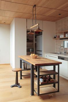 Industrial Furniture Wood Kitchen Islands 53 Super Ideas You are in the ri Metal Furniture, Industrial Furniture, Kitchen Furniture, Furniture Outlet, Discount Furniture, Furniture Ideas, New Kitchen, Kitchen Dining, Kitchen Decor
