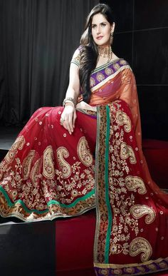 #Red Net #Saree with Blouse @ $237.36