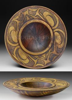 Pacific Northwest Native Art, Chinook Two Douglas J. Fisher Maple bowl Turned, carved and dyed 12.75 x 2.5 inches Available from Salish Sea Market, Bowser, BC $695.00