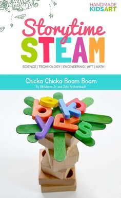 Storytime STEAM Preschool STEM Activities Inspired by the book Chicka Chicka Boom Boom, this STEM challenges young learners to think, create and build. Kindergarten Stem, Preschool Books, Preschool Science, Preschool Classroom, Classroom Ideas, Steam For Preschool, Preschool Literacy Activities, Preschool Supplies, Preschool Projects