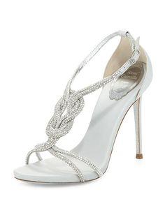 X2Q50 Rene Caovilla Twist-Strap Crystal-Embellished Sandal, Silver