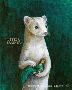 """The limited edition, archival signed print is titled """"Ermine With A Lady"""". It was inspired by Leonardo daVinci's enchanting """"Lady With An Ermine"""". Lady With An Ermine, Family Picture Poses, Famous Artwork, Cool Posters, Pet Portraits, Illustration Art, Art Illustrations, Art Drawings, Fine Art Prints"""