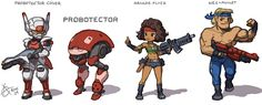 The new Contra Rebirth (Wii) has a chibi robot in it as an unlockable character or something. Description from conceptart.org. I searched for this on bing.com/images