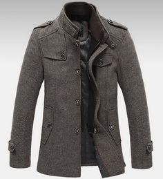 Mens Standing Collar Coats Wool Jackets Warm Fleece Outerwear Gray Brown | eBay this'll look great with a shirt and tie