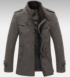 Mens Standing Collar Coats Wool Jackets Warm Fleece Outerwear Gray Brown | eBay love this