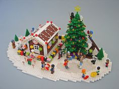 Lego Christmas scenes- make them a tradition! Build them bigger and better each year and leave them out for decoration! #LEGOChristmas #LEGO #Christmasvillage