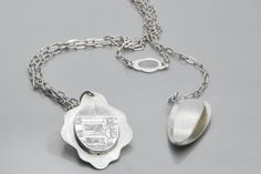 """Necklace 2"", engraved silver"
