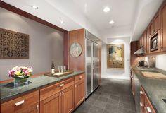 Modern Kitchen with Flat panel cabinets, Flush, Subzero side by side freezer-refridgerator, Galley, Stainless Steel New York City Ny, Luxury Apartments, Flat Iron, Manhattan, My House, Home Improvement, Modern, Kitchen, Room