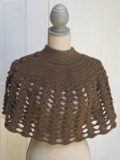 Crochet Poncho with Brown Leather Buttons Crochet Shawl Warm Shawl