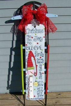 Boutique Whimsy Hand Painted Sled by BoutiqueWhimsy on Etsy, $85.00