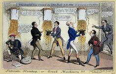 Γελοιογραφία για τα αγγλικά δάνεια (1824 , 1825).