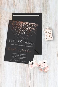 Save the Date Card Printable Rose Gold Save the by BohemePrints #elegant #winter #spring #wedding #invitation #grey #rose #gold #simple