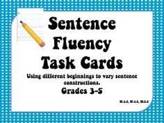 Are you looking for mini-lessons and activities to use with the 6 traits of writing? Sentence Fluency is an area many students need instruction in and have the potential to show tremendous growth. The 32 task cards in this set will challenge students to write sentences that begin in a variety of ways that will benefit their daily writing and build their sentence fluency.
