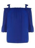 Womens **Maternity Cobalt Flute Sleeve Tie Top- Cobalt