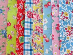 Pretty vintage fabrics from the 1940's. Love the colorful florals!