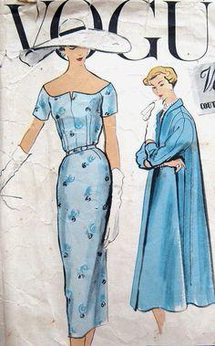 Retro Sewing Vintage VOGUE Couturier Design Sewing Pattern by Elena Patton Vestidos Vintage, Vintage Dresses, Vintage Outfits, 1950s Fashion, Vintage Fashion, Vestidos Pin Up, Vintage Vogue Patterns, Moda Vintage, Fashion Sewing