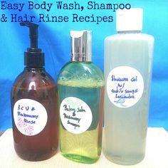 Easy and safe recipes: Apple Cider Vinegar Hair Rinse, Rosemary Baking Soda Shampoo, Lavender Castile Soap Shower Gel.
