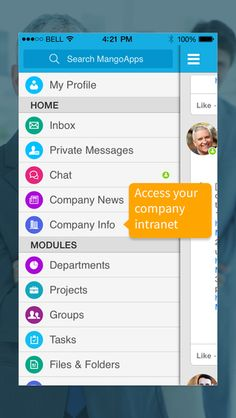 intranet screenshots - Google Search Company News, File Folder, Messages, Google Search, Text Posts, Text Conversations
