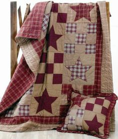 Star Patch,Quilted Bedding,Quilt,primitive,rustic,pillows,shams ...