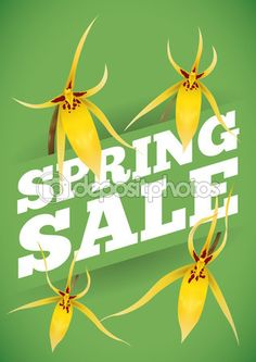Spring Sale Advertising with Yellow Orchids Around it, Vector Illustration Free Vector Images, Vector Free, Yellow Orchid, Spring Sale, Green Backgrounds, Orchids, Advertising, Delicate, Illustration