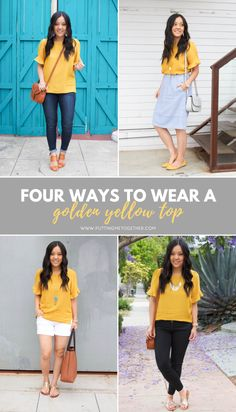 How To Wear Yellow Top Summer Outfits 45 Ideas Mustard Yellow Outfit, Mustard Yellow Top, Yellow Blouse, Mellow Yellow, Yellow Outfits, Yellow Shoes Outfit, Colour Yellow, Outfits With Striped Shirts, Yellow Shirts