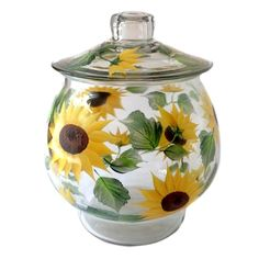 Cheerful shades of yellows and golds, rich browns and beautiful greens hand-painted encircling a one gallon cookie jar and separate lid. 10 inches tall by 9 inches wide. Sealed and heat-cured for adde Sunflower Kitchen Decor, Sunflower Decorations, Sunflower Bathroom, Sunflower Crafts, Sunflower Arrangements, Sunflower Cookies, Shabby Chic Salon, Sunflowers And Daisies, Kitchen Themes