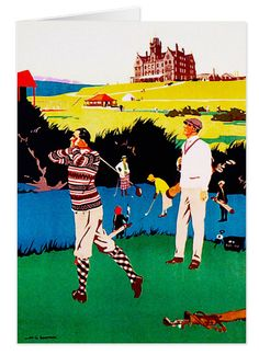 Vintage Golf Greeting Card. One for the keen golfer. Vintage Cruden Bay advertisement http://www.zazzle.com/vintage_golf_greeting_card-137602039947494450 #golf #vintage #card