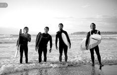4 big longboarders...