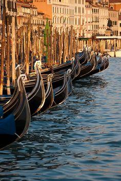 Gondolas on the Grand Canal, Venice. Photograhed by Sergio Canobbio