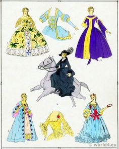Rococo costumes. French Gowns. Fashions of Louis XV.