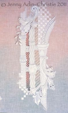 Whitework. Jenny Adin-Christie Embroidery Sampler, Types Of Embroidery, White Embroidery, Vintage Embroidery, Cross Stitch Embroidery, Embroidery Patterns, Hand Embroidery, Drawn Thread, Contemporary Embroidery