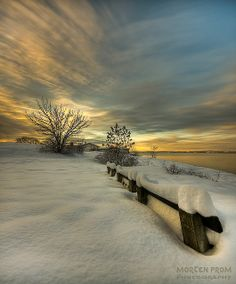 ˚Snow Covered Bench - Oslo Fjord, Norway
