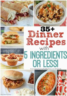 35 Dinner Recipes with 5 Ingredients or Less! - Yummy Healthy Easy-Super delicious collection of 35 Easy Dinner Recipes with or Less! Think Food, I Love Food, New Recipes, Cooking Recipes, Healthy Recipes, Easy Recipes, Recipies, Popular Recipes, Easy Cooking