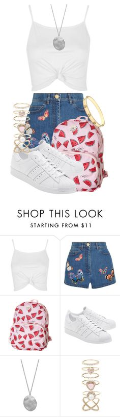 """Mismatched accessorising"" by tigerlily789 ❤ liked on Polyvore featuring Topshop, Valentino, Roxy, adidas Originals, Karen Kane, Accessorize and Cartier"
