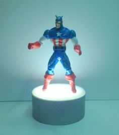 Carbon Fiber Vinyl 4 Inch Diameter LED Doll Stand, Action Figure Stand and Sculptures Stand Display Fixture