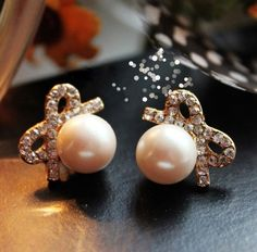 New Graceful Big Pearl Bowknot Earring&Stud