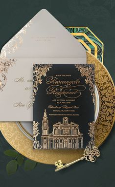 Ornate save the date with a hand illustrated wedding venue, the Basilica of Regina Pacis in gold foil on black paper. Perfect for an opulent, elegant wedding. By Atelier Isabey Elegant Wedding Invitations, Foil Wedding Stationery, Wedding Invitation Etiquette, Wedding Stationary, Star Wedding, Diy Wedding, Wedding List, Gothic Wedding, Wedding Reception