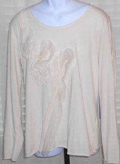 Simply Vera Vera Wang NWT Beige Long Sleeve Cotton Polyester Top Size XL #SimplyVeraVeraWang #LightWeightPulloverTop