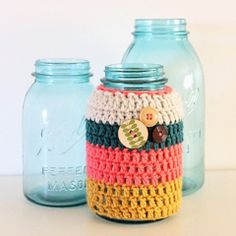 Retro Stripe Crochet Jar Cozy - Cottage Industry Shop