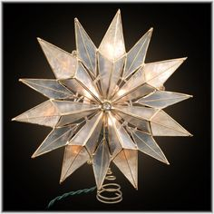 9 Inch Capiz Shell 14 Point Star Lighted Tree Topper