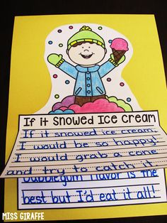 If it Snowed Ice Cream and a lot of other fun ideas for winter writing - this page has a bunch of no prep writing activities! Fun Writing Prompts, Cool Writing, Writing Workshop, Writing Ideas, Creative Writing, Writing Lessons, Writing Resources, Writing Paper, Kindergarten Writing